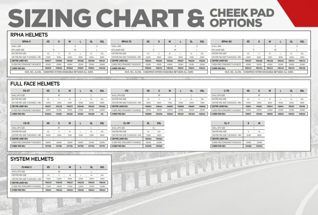 HJC Sizing Chart & Cheek Pad Options Chart
