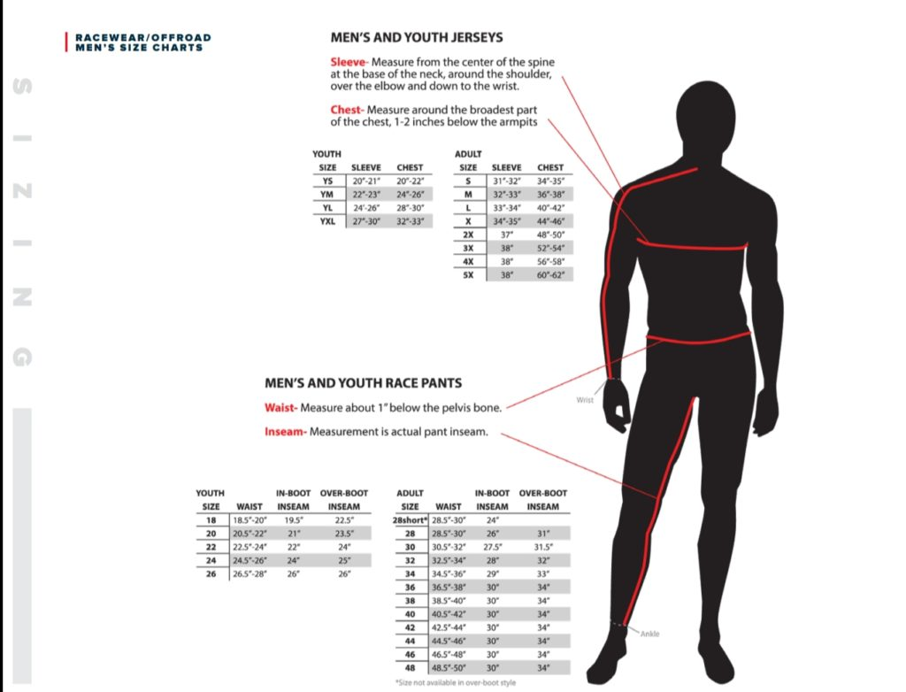 Fly Racing Men's and Youth Jersey Sizing and Men's and Youth Race Pants Size Charts