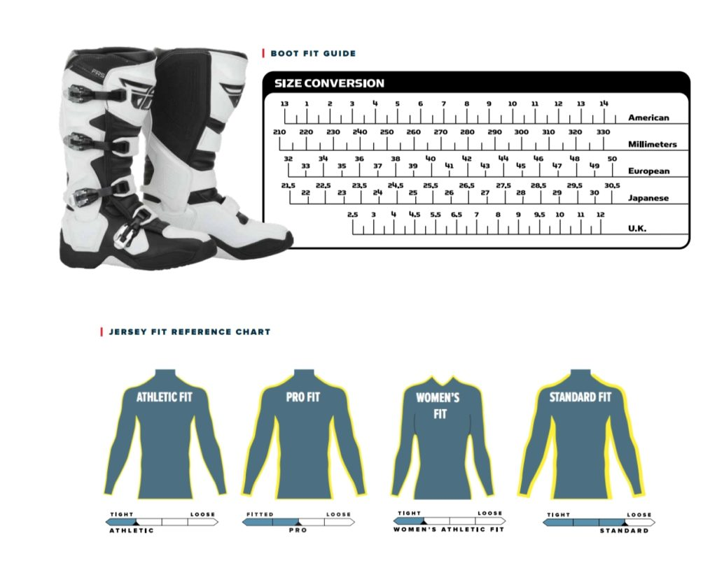 Fly Racing Boot Fit Guide and Jersey Fit Reference Charts