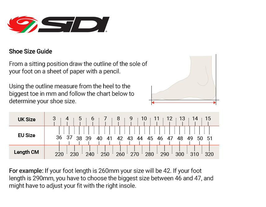 Sidi Shoes Size Guide