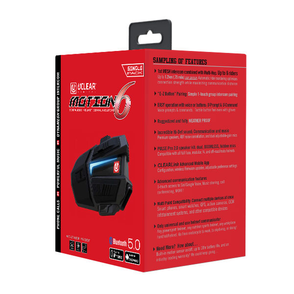 Uclear Digital Motion 6 Bluetooth Helmet Audio System – Single Kit