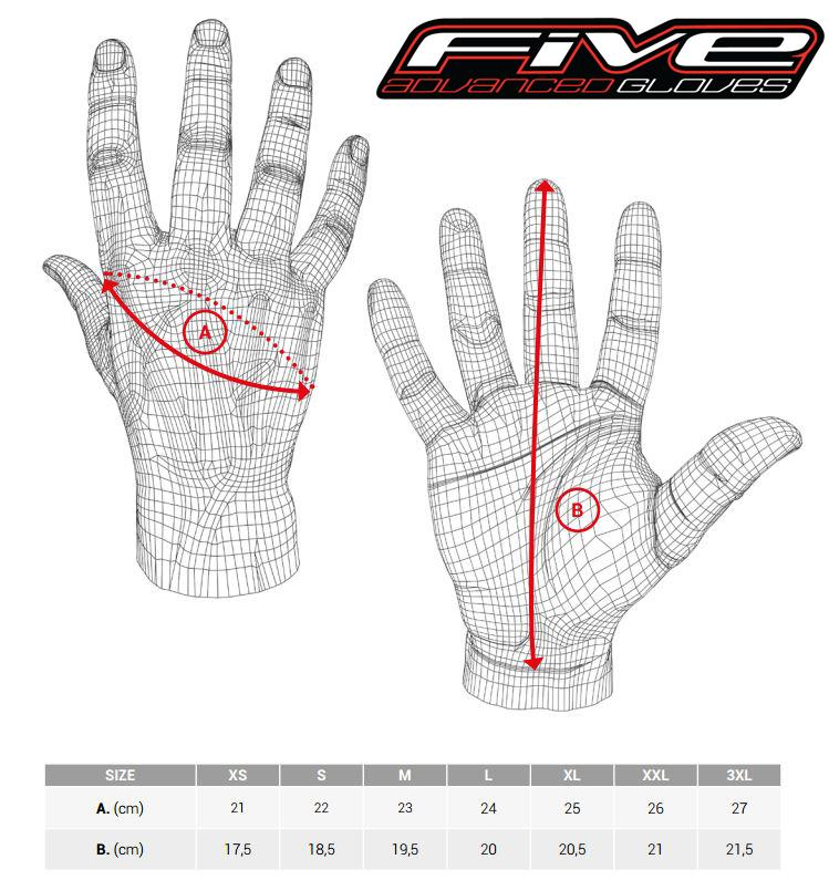 Five Advanced Gloves Sizing Chart