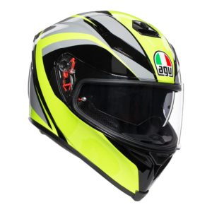AGV K5 S TYPHOON HELMET BLACK GREY YELLOW FLURO