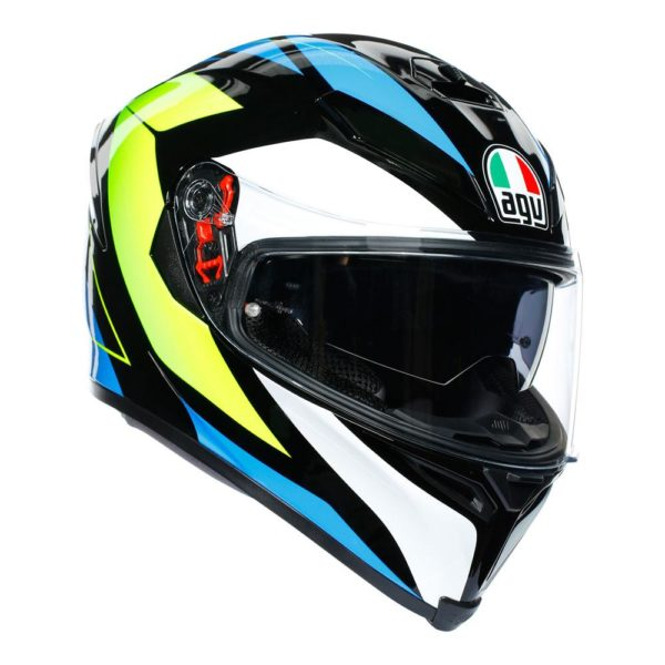 AGV K5 S CORE BLACK CYAN YELLOW FLUO HELMET